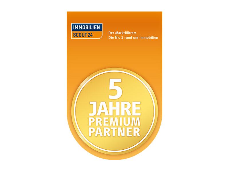 Auszeichnung ImmobilienScout24 5 Jahre Premium Partner